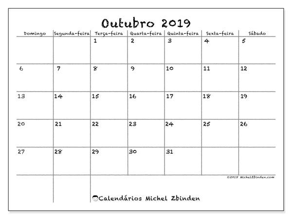 Calendário outubro 2019, 77DS. Calendário para imprimir livre.