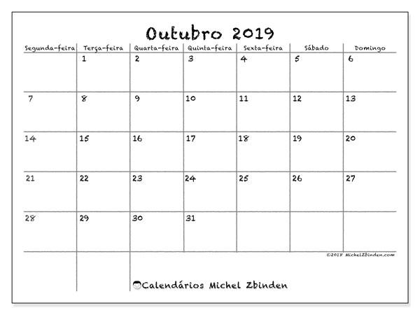 Calendário outubro 2019, 77SD. Calendário mensal para imprimir gratuitamente.