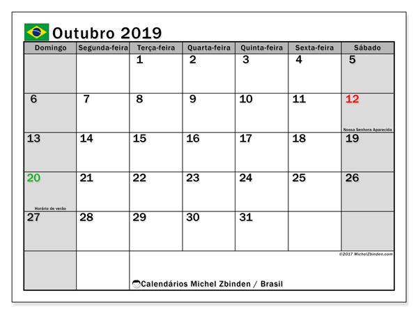 Calendário em outubro  de 2019, com feriados públicos do Brasil. Calendário para imprimir livre.