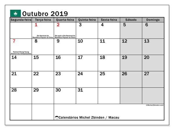 Calendário outubro 2019, com as festas do Macau. Calendário para impressão gratuita com feriados.