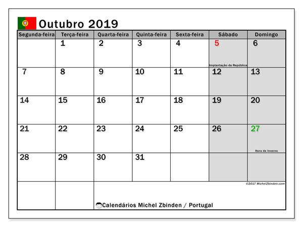 Calendário em outubro  de 2019, com feriados públicos em Portugal. Horário para imprimir livre.