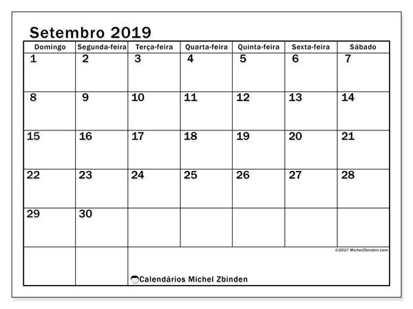 Calendário setembro 2019, 50DS. Calendário para o mês para imprimir livre.