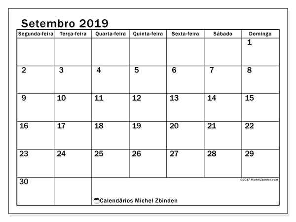 Calendário setembro 2019, 50SD. Calendário para imprimir gratuitamente.