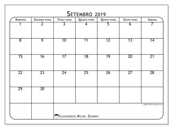Calendário  setembro de 2019, 51DS