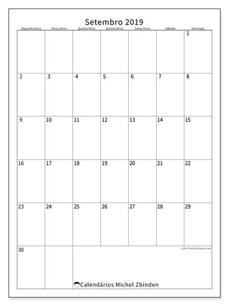 Calendário setembro 2019, 52SD. Calendário gratuito para imprimir.