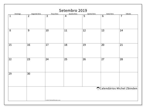 Calendário  setembro de 2019, 53DS