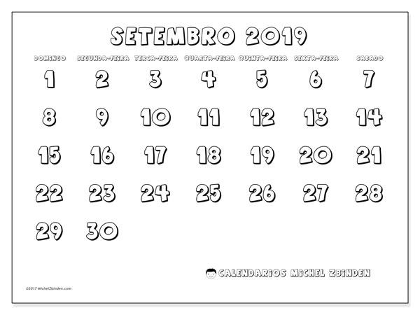 Calendário setembro 2019, 56DS. Calendário para imprimir livre.