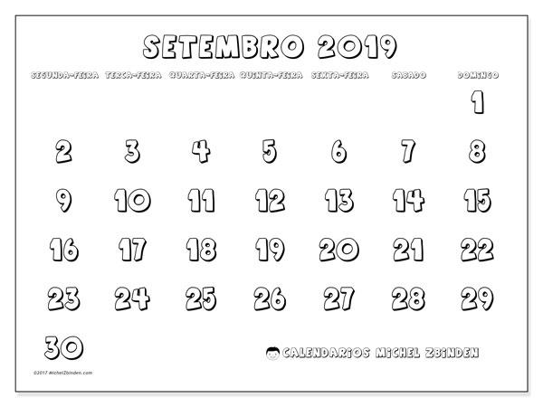 Calendário setembro 2019, 56SD. Calendário para imprimir livre.
