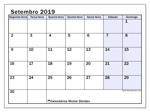 Calendário setembro 2019, 57SD. Calendário para imprimir gratuitamente.