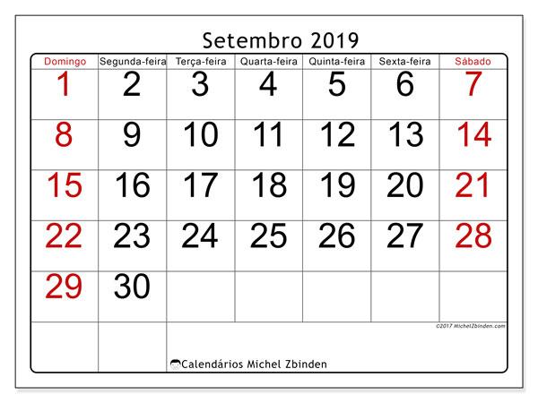 Calendário setembro 2019, 62DS. Horário para imprimir livre.