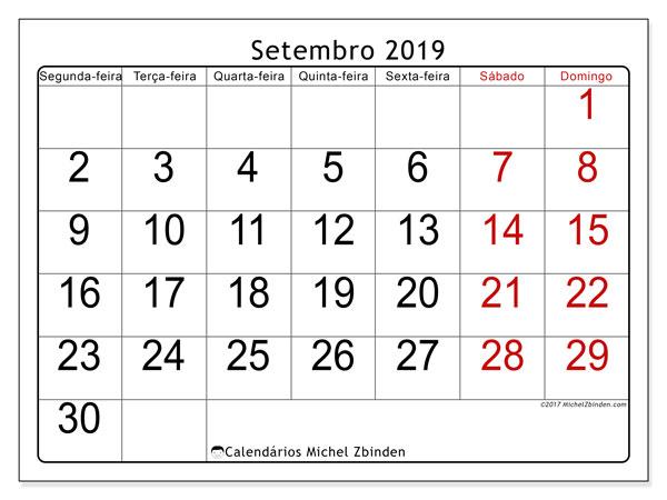 Calendário setembro 2019, 62SD. Calendário para imprimir gratuitamente.