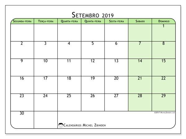 Calendário setembro 2019, 65SD. Agenda para imprimir livre.