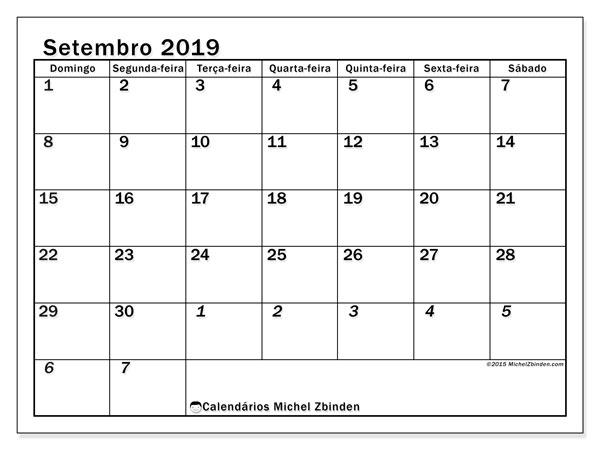 Calendário setembro 2019, 66DS. Calendário para imprimir livre.