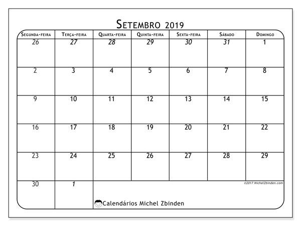 Calendário setembro 2019, 67SD. Calendário para imprimir gratuitamente.