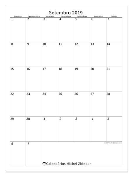 Calendário  setembro de 2019, 68DS