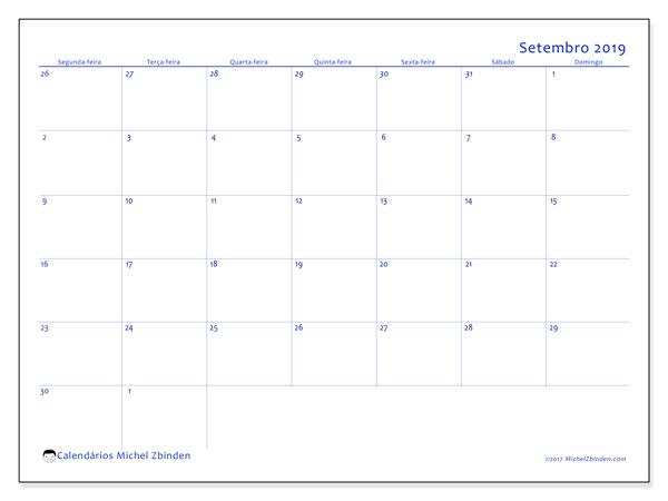 Calendário setembro 2019, 73SD. Calendário para imprimir livre.