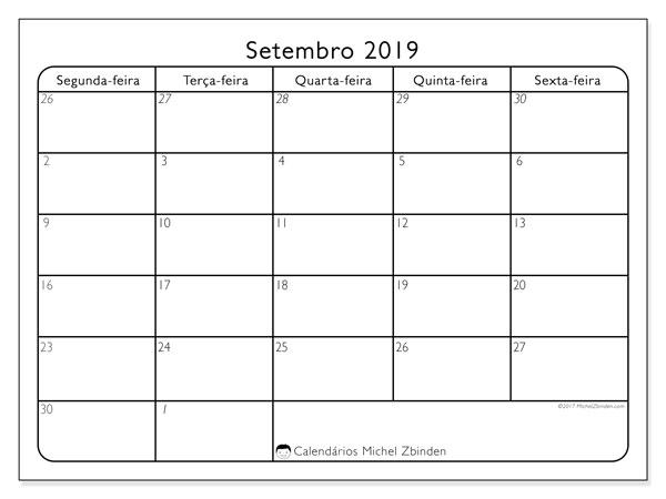 Calendário setembro 2019, 74DS. Horário para imprimir livre.