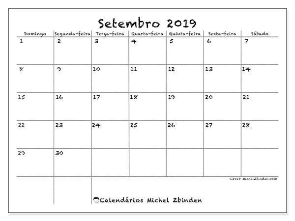 Calendário setembro 2019, 77DS. Calendário mensal para imprimir gratuitamente.
