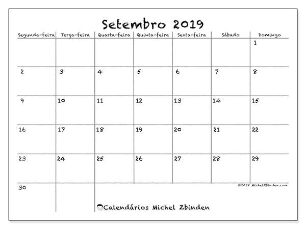 Calendário setembro 2019, 77SD. Calendário mensal para imprimir gratuitamente.