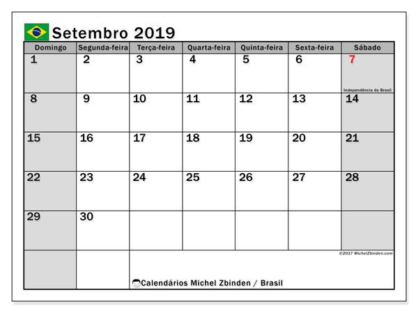 Calendário em setembro  de 2019, com feriados públicos do Brasil. Calendário gratuito para imprimir.