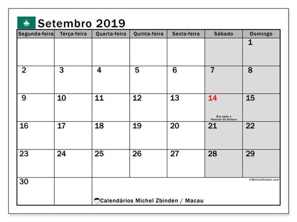 Calendário setembro 2019, com as festas do Macau. Calendário feriados para imprimir gratuitamente.