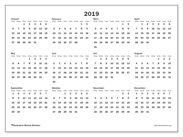 Kalender 2019, 32SL. Gratis utskrivbara kalender.