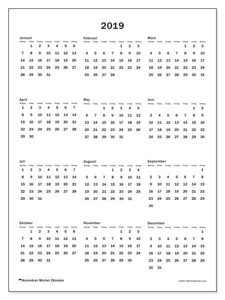 Kalender 2019, 33MS. Kalender för att skriva ut gratis.