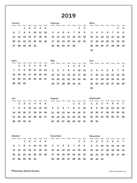 Kalender 2019, 33SL. Kalender för året att skriva ut gratis.