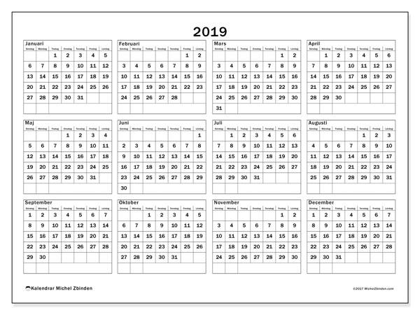 Kalender 2019, 34SL. Gratis kalender att skriva ut.