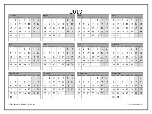 Kalender 2019, 35MS. Kalender för att skriva ut gratis.