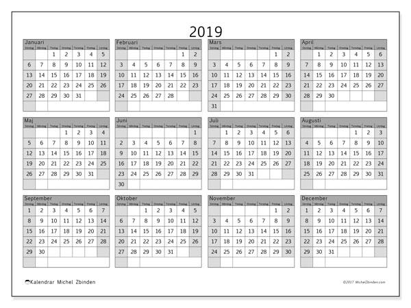 Kalender 2019, 35SL. Kalender för året att skriva ut gratis.