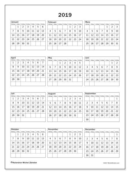 Kalender 2019, 36MS. Kalender för året att skriva ut gratis.