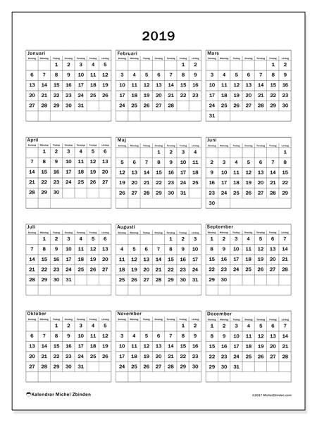 Kalender 2019, 36SL. Kalender för året att skriva ut gratis.