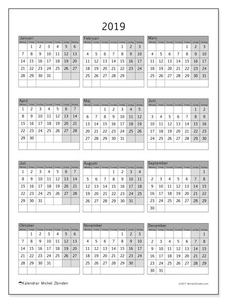 Kalender 2019 (37MS). Gratis utskrivbara kalender.