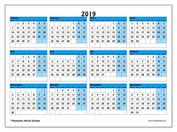 Kalender 2019 (39MS). Kalender för gratis utskrift.