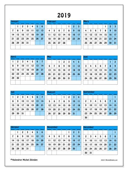 Kalender 2019, 40MS. Årlig kalender för att skriva ut gratis.