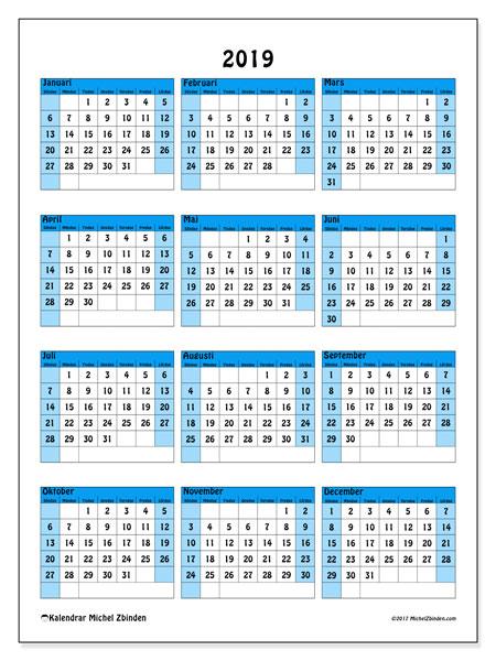 Kalender 2019, 40SL. Gratis kalender att skriva ut.