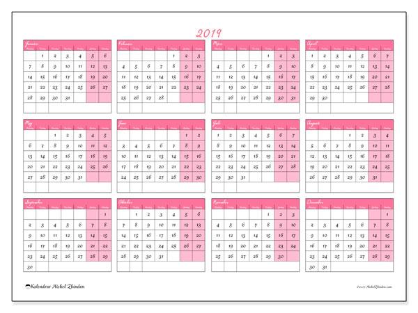 Kalender 2019, 41MS. Kalender för att skriva ut gratis.
