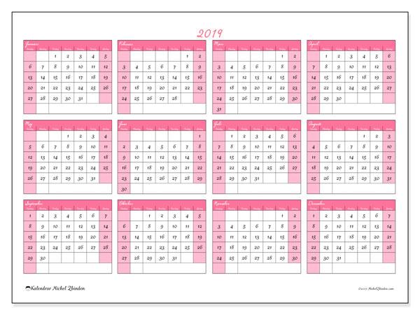 Kalender 2019, 41SL. Årlig kalender för att skriva ut gratis.