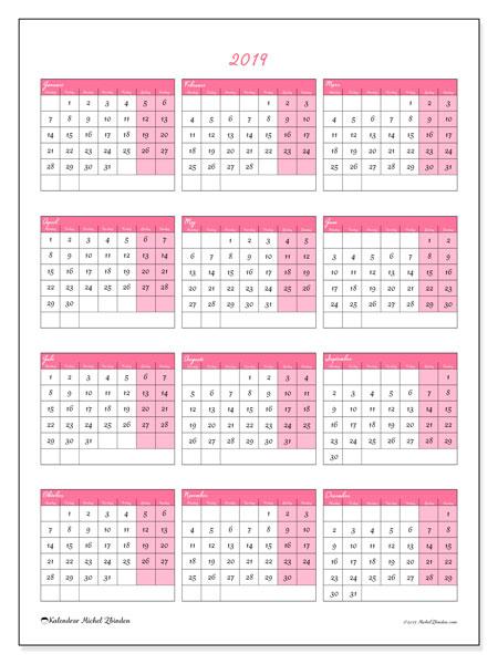 Kalender 2019, 42MS. Årlig kalender för att skriva ut gratis.