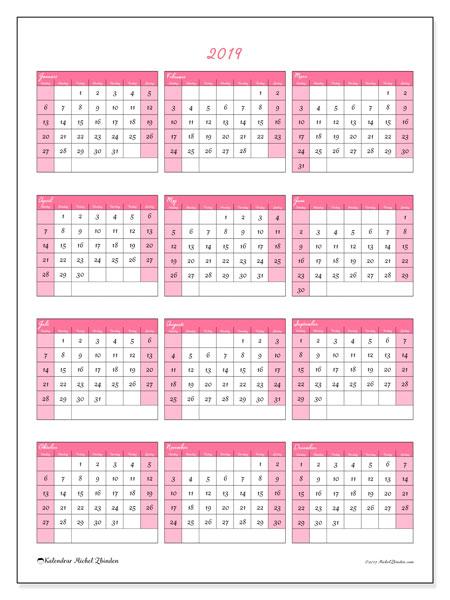 Kalender 2019, 42SL. Årlig kalender för att skriva ut gratis.