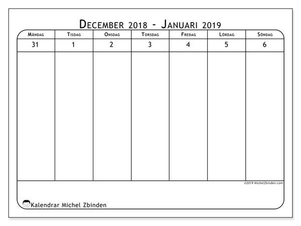 Kalender 2019, 43-1MS. Kalender för veckan att skriva ut gratis.