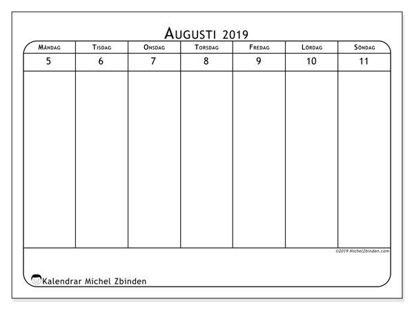 Kalender 2019, 43-32MS. Gratis kalender att skriva ut.
