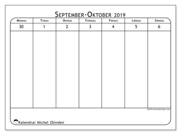 Kalender 2019, 43-40MS. Almanak för att skriva ut gratis.