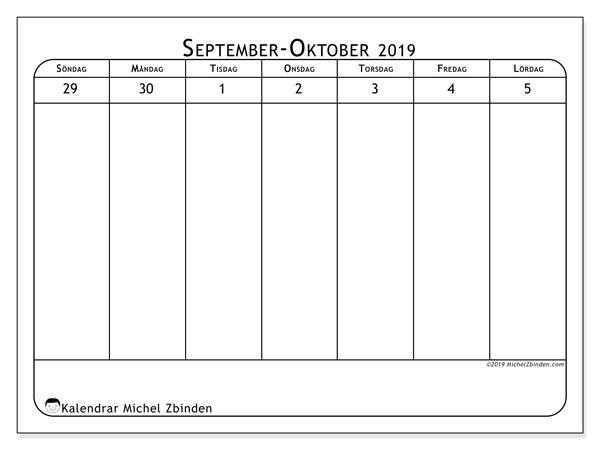 Kalender 2019, 43-40SL. Schema för att skriva ut gratis.