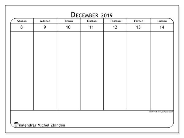 Kalender 2019, 43-50SL. Schema för att skriva ut gratis.