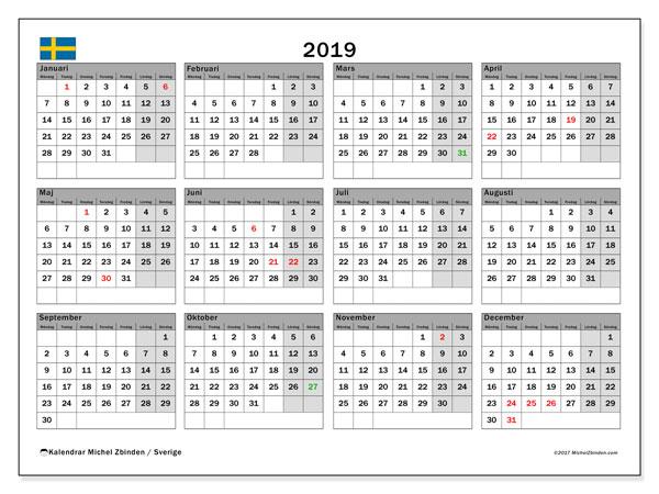 Kalender 2019, med semester i Sverige. Kalender för gratis utskrift med helgdagar.