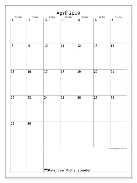 Kalender april 2019, 52MS. Gratis kalender att skriva ut.
