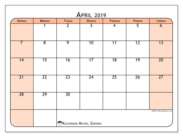 Kalender april 2019, 61SL. Kalender för gratis utskrift.