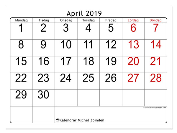 Kalendrar april 2019 (MS).  62MS.